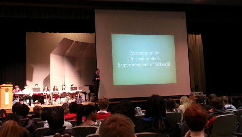 Dr. Starr Encourages Students' Support for Proposed MCPS Budget During MCR-MCJC Assembly